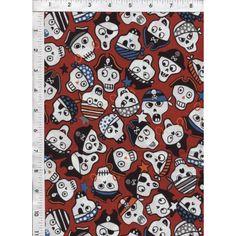 1m Halloween Skulls green Riley Blake Fabric PER METRE adventure pirate kids ...