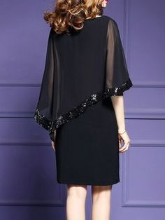 Vestido de hendidura asimétrica abalorios batwing
