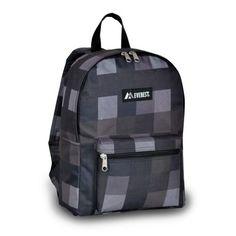 Everest Basic Economic Polyester Pattern Backpack Bag  Charcoal Black Plaid *** You can get additional details at the image link.