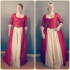 Do you need to wear proper underpinnings with your historical costume? Here's an example of what happens when you skip the stays, bum pad,… 18th Century Stays, 18th Century Dress, 18th Century Costume, 18th Century Clothing, 18th Century Fashion, 19th Century, Vintage Dress Patterns, Vintage Dresses, Vintage Outfits