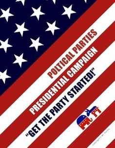 """Political Parties Presidential Campaign Simulation""""Let's Get The Party Started!"""" This simulation is an excellent way for students to comprehend all aspects of political parties, and the campaigns needed to elect a presidential candidate.Overview Teacher will divide class into groups of 4 to 5 students per group. History Teachers, Teaching History, Interactive Activities, Party Activities, Government Lessons, Running For President, Get The Party Started, Political Party, High School"""