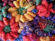 freeform crochet - bullion stitches with luscious threads