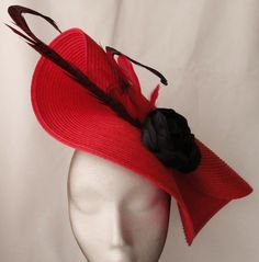 Red and black fascinator red hat red wedding hat by Tocchic Wedding  Fascinators 02645cf5afb