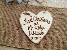 First Christmas as Mr. & Mrs. First Christmas Together Rustic Christmas Ornament Personalized for the Newlyweds 2013