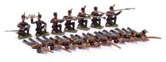 Heyde or Similar German Maker No 3 [43-48mm] size solids made prior to 1945, German Jagers, circa, 1900, comprising: Kneeling Officer, Kneeling Bugler, 5 x Kneeling Jagers Firing & 7 x Prone Jagers Firing. Some minor paint chips & 5 missing plumes otherwise generally Very Good. Rare, the first examples to be sold by Vectis. [17 pieces]
