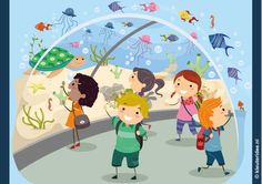 Praatplaat oceanium voor kleuters groot formaat, kleuteridee.nl , thema dierentuin, free printable.