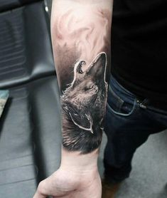 Cool Wolf Forearm Tattoo Designs - Best Wolf Tattoos For Men: Cool Wolf Tattoo Ideas, Badass Wolf Designs For Guys Wolf Tattoos Men, Tattoos Arm Mann, Music Tattoos, Animal Tattoos, Body Art Tattoos, Tattoos For Women, Tatoos, Circle Tattoos, Celtic Tattoos