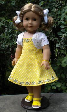 American Girl Dolls : Image : Description Yellow Sundress Set for American Girl or other by Sewing Doll Clothes, American Doll Clothes, Sewing Dolls, Ag Dolls, Girl Doll Clothes, Girl Dolls, Barbie Clothes, Yellow Sundress, Little Girl Dresses