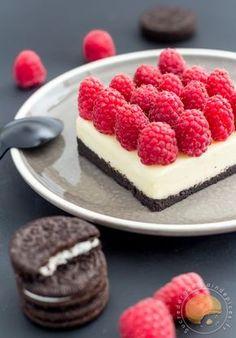 Entre la tarte et le cheese-cake sans cuisson Oreo, mascarpone/chocolat blanc et framboises fraîches