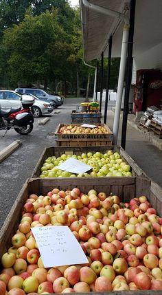 As you approach the building, you'll see various fresh produce for sale.