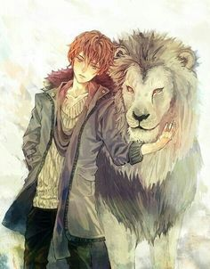 Anime boy, , cool, , red hair, , lion, , friends