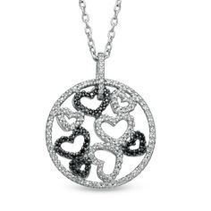 5/8 CT. T.W. Enhanced Black and White Diamond Heart Cluster Circle Pendant in Sterling Silver