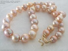 Large Peaches and Pinks Graduated Character Freshwater Pearl Necklace