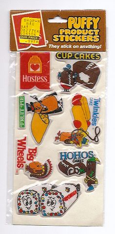 "Hostess Puffy Stickers---totally had these in my sticker collection in the mid-80's!  And always wondered what the heck ""Big Wheels"" were.  lol"
