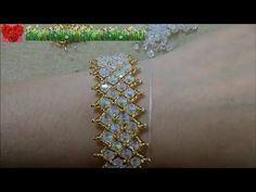 How to bead funny accessory:Mesh Diamond Beads Bracelet - Bracelets Tutorials Seed Bead Jewelry, Bead Jewellery, Seed Beads, Seed Bead Tutorials, Beading Tutorials, Beaded Rings, Beaded Bracelets, Beaded Bracelet Patterns, Bracelet Tutorial