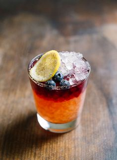Bacchanalia: Riffing on the familiar flavors of Sangria, the drink is made American by the addition of rye, but takes yet one more unexpected turn with a topper of Lambrusco, making a drink that falls somewhere in between a high-proof spritz and a cobbler.