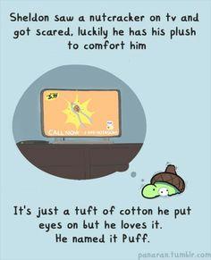 Sheldon the tiny dinosaur - puff the tiny cotton ball