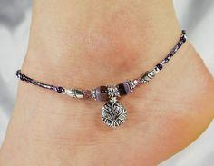 Anklet Ankle Bracelet Etched Branches Charm Purple Anklet