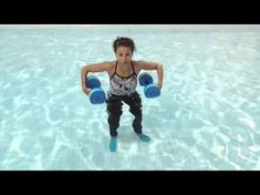 Aqua Aerobics Exercises - say goodbye to love handles with water dumbbell workout routine Water Aerobics Workout, Water Aerobic Exercises, Swimming Pool Exercises, Pool Workout, Step Workout, Water Workouts, Dumbbell Exercises, Love Handles, Exercice Step