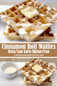 Cinnamon Roll Waffles with Cream Cheese Icing - Keto Low Carb & Gluten Free This recipe is really easy to make and is such a nice change from traditional waffles with all the flavors of the beloved cinnamon buns! Keto Waffle, Waffle Toppings, Waffle Recipes, Ketogenic Recipes, Low Carb Recipes, Diet Recipes, Ketogenic Diet, Chili Recipes, Shrimp Recipes