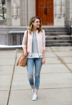 Casual weekend style: quilted bomber, ruffled top, skinny jeans + sneakers