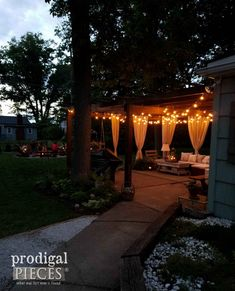 Diy Furniture : Patio with Nighttime Lights and DIY Fire Pit by Prodigal Pieces Fire Pit Uses, Diy Fire Pit, Fire Pit Backyard, Garden Rake, Diy Garden, Garden Tools, Outside Fire Pits, Limelight Hydrangea, Fire Pit Furniture