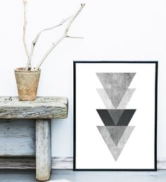 Triangle Print, Printable Art, Geometric Art print, Scandinavian Design…