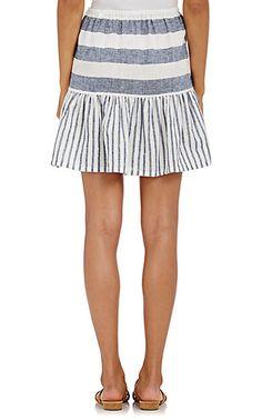 Skin Striped Linen-Cotton Flared Skirt - Skirts - 504744612