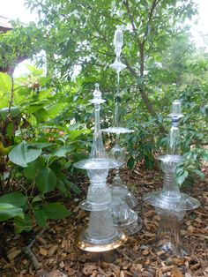 Recycled glass sculpture for the garden