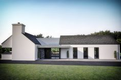 Mullan Chartered Architects work hand in hand with our clients and contractors to produce outstanding buildings, ranging from small domestic extensions, alterations and bespoke dwellings to large scale commercial and private developments. Cottage Extension, House Extension Design, Modern Bungalow Exterior, Modern Farmhouse Exterior, Modern Bungalow House Design, Rural House, Bungalow House Plans, Modern Home Design, House Designs Ireland