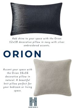 Orion decorative pillows to coordinate back to the Orion comforter set! Silver Pillows, Knit Pillow, Perfect Pillow, Comforter Sets, New Product, Decorative Pillows, Comforters, Bed Pillows, Living Spaces