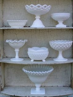Milk glass I think white is a beautiful color and i love this style of glass.