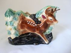 Vintage Sitting Lamb Ceramic Planter with Floral Pattern Made in Italy