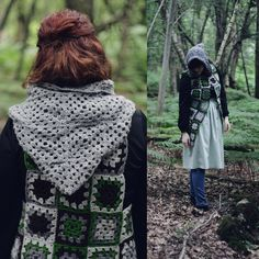 Forest Granny Square Vest with Hood.