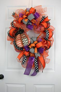 Chevron Pumpkin Wreath