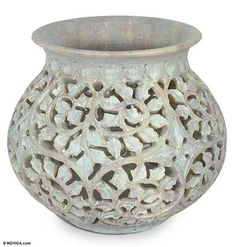 Soapstone jar, 'Ivy Vine' by NOVICA