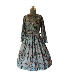 Vintage 1960s 60s Dress - Designer Nelly Don Paisley Print Full Skirt Party Cocktail Day Office Mad Men Medium. $115.00, via Etsy.