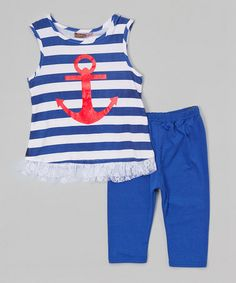 This Blue Stripe Anchor Tunic & Leggings - Infant, Toddler & Girls by Baby Ziggles is perfect! #zulilyfinds