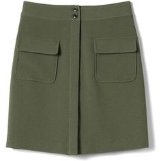 Banana Republic Womens Crepe Military Skirt (3.090 RUB) ❤ liked on Polyvore featuring skirts, military skirt, high-waist skirt, green high waisted skirt, high-waisted skirts and green skirt