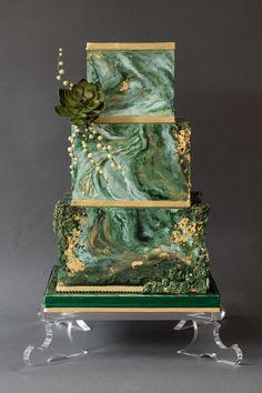 Green marble and gold wedding cake www etsy com sh Beautiful Wedding Cakes, Gorgeous Cakes, Pretty Cakes, Amazing Cakes, Square Wedding Cakes, Wedding Cake Designs, Cake Wedding, Unique Cakes, Elegant Cakes