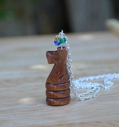 Chess Piece Knight Horse Necklace Wood by StalkingTheWildSnark