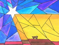 Nativity Star of Light Art Lesson for kids - Leah Newton Art Advent Art Projects, Christmas Art Projects, School Art Projects, Christmas Crafts, Native Drawings, Art Drawings, Fine Art Drawing, Drawing For Kids, Collaborative Mural