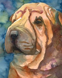 Shar Pei Dog Art Print of Original Watercolor by dogartstudio Watercolor Animals, Watercolor Paintings, Original Paintings, Watercolor Paper, Cachorros Shar Pei, Learn Art, Dog Art, Fine Art Photography, Fine Art Paper