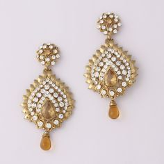 White Drop Floral Diamond Earring By Variation