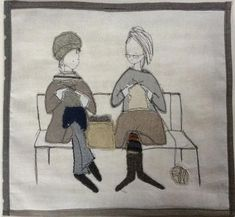 Made By Hand Online - Knitting In The Park stitched picture by Janine Pope madebyhandonline