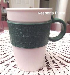 Starbucks Mug White With Green Silicone Rubber Band And Handle 2008 Holds 12 oz #Starbucks