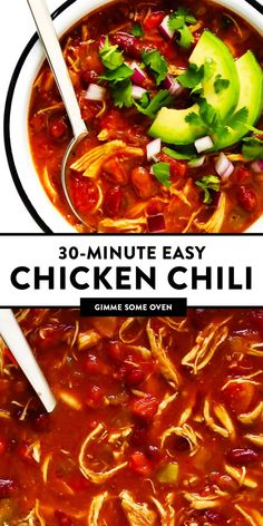 This Red Chicken Chili Recipe Is Easy To Make On The Stovetop In Just 30 Minutes, It's Naturally Gluten-Free, And Tastes So Cozy And Delicious. The Leftovers Also Freeze And Reheat Well, Making This A Great Soup For Healthy Meal Prep. Red Chicken Chili Recipe, Easy Chicken Chili, Stovetop Chili Recipe, Chili Recipes, Mexican Food Recipes, Soup Recipes, Chicken Recipes, Healthy Meal Prep, Healthy Recipes