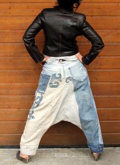 M-L yoga pants denim jeans linen recycled hippie by jamfashion