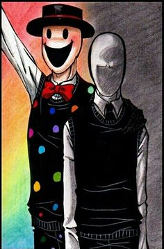 Splendorman and Slenderman Splendorman would be more scary to me... you don't know what he is hiding behind that smile...