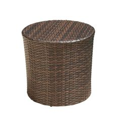 Noble House Alan Multi-Brown Round Wicker Outdoor Side Table 2589 - The Home Depot Metal Outdoor Side Table, Outdoor End Tables, Wicker Side Table, Patio Side Table, Outdoor Bar Stools, Wooden Side Table, Side Table Styling, Modern Tabletop, Barrel Table